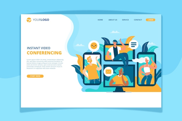 Modelo de página de destino da videoconferência
