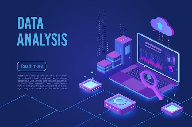 Modelo de página de destino da web isométrica de análise de dados com luz de néon escuro