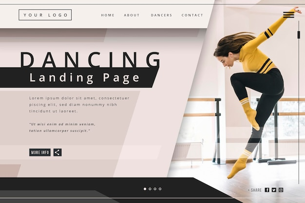 Modelo de página de destino dançando