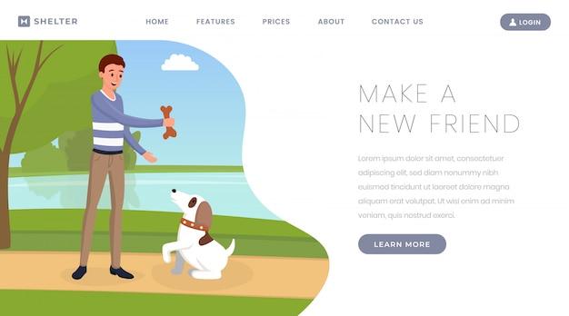 Modelo de página de destino de abrigo de cão