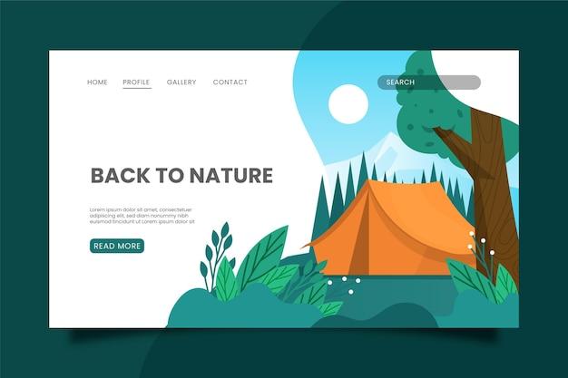 Modelo de página de destino de acampamento com barraca e árvore