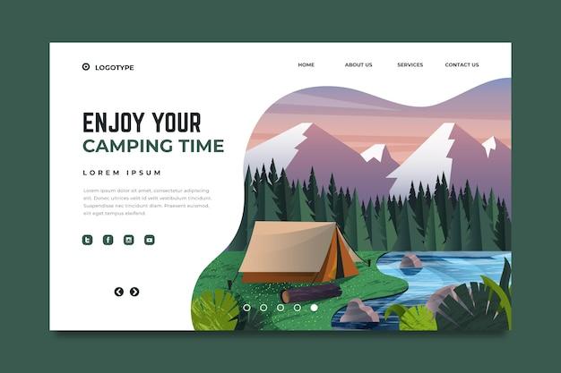 Modelo de página de destino de acampamento de design plano