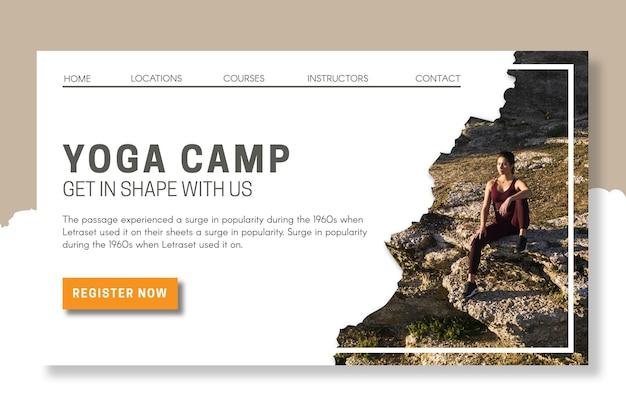 Modelo de página de destino de acampamento de ioga