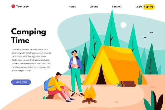 Modelo de página de destino de acampamento