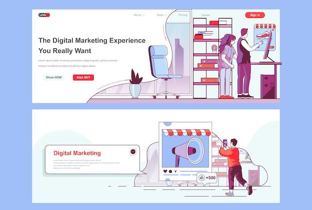 Modelo de página de destino de agência de marketing digital usado como cabeçalho