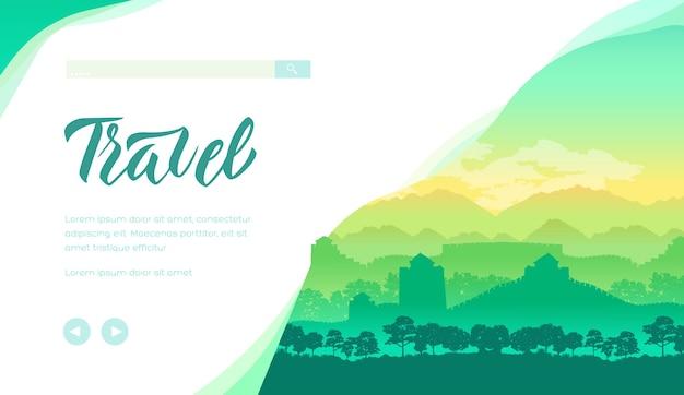 Modelo de página de destino de agência de viagens. bandeira de passeio turístico na ásia. marco arquitetônico, histórico.