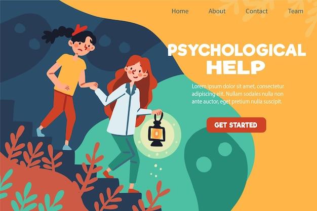 Modelo de página de destino de ajuda psicológica