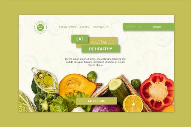 Modelo de página de destino de alimentos bio e saudáveis com foto