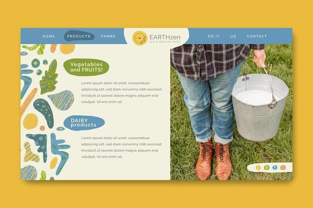 Modelo de página de destino de alimentos biológicos e saudáveis