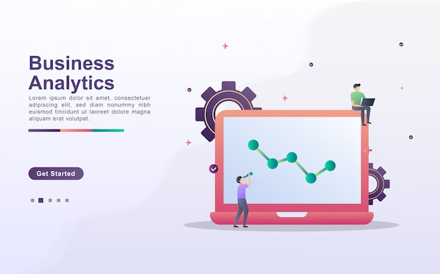Modelo de página de destino de análise de negócios em estilo de efeito gradiente