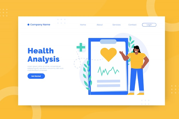 Modelo de página de destino de análise de saúde