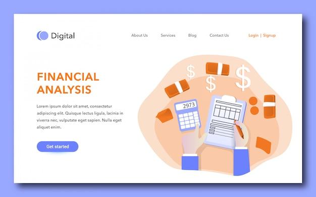Modelo de página de destino de análise financeira