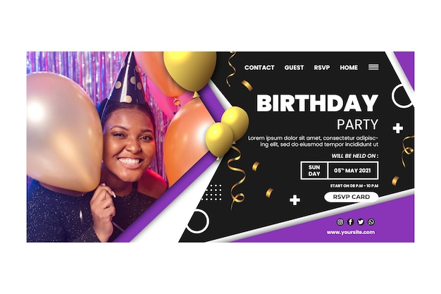 Modelo de página de destino de aniversário com foto