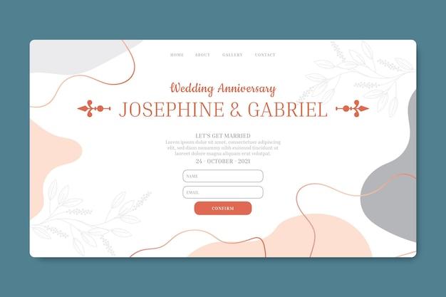Modelo de página de destino de aniversário de casamento Vetor grátis