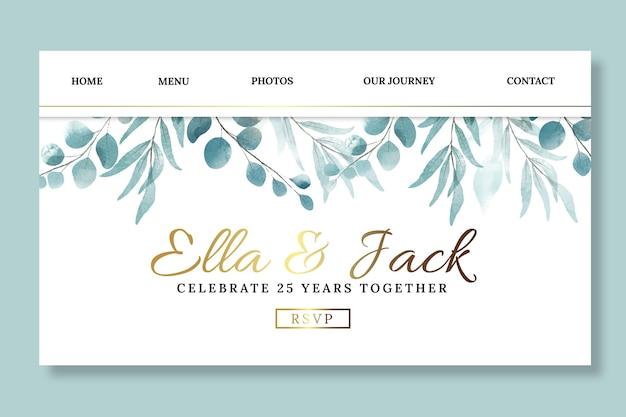 Modelo de página de destino de aniversário de casamento