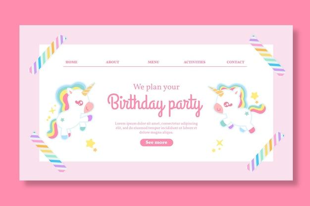 Modelo de página de destino de aniversário infantil unicorn