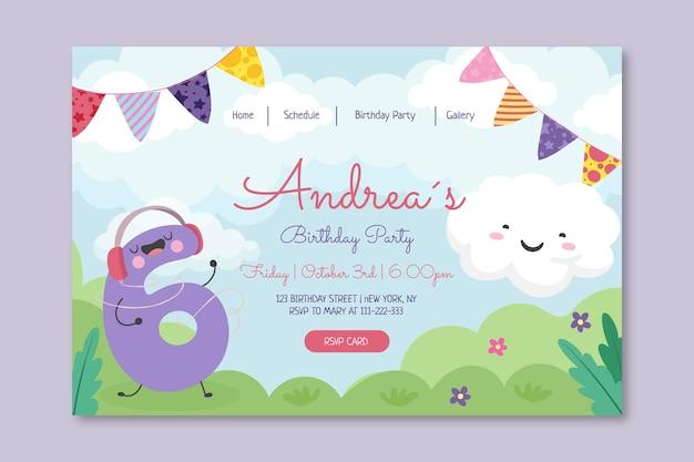 Modelo de página de destino de aniversário infantil