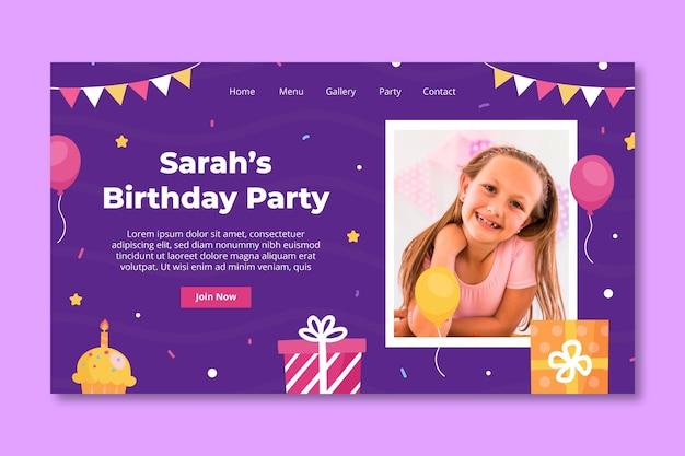 Modelo de página de destino de aniversário infantil Vetor grátis