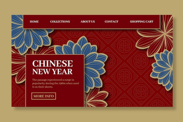 Modelo de página de destino de ano novo chinês