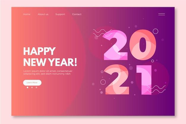 Modelo de página de destino de ano novo de design plano