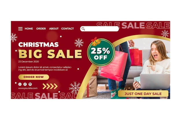 Modelo de página de destino de anúncio de vendas de natal
