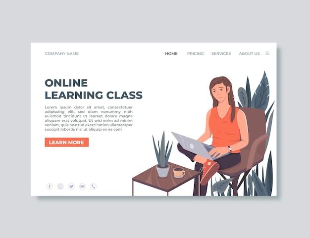 Modelo de página de destino de aprendizado on-line detalhado