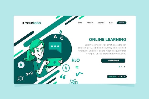 Modelo de página de destino de aprendizado online desenhado à mão