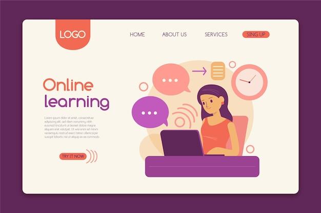 Modelo de página de destino de aprendizagem online