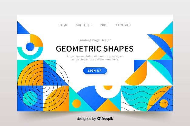 Modelo de página de destino de aspectos geométricos