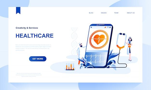 Modelo de página de destino de assistência médica com cabeçalho