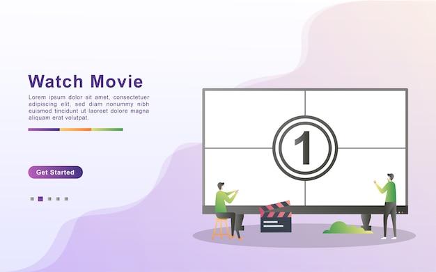 Modelo de página de destino de assistir filme em estilo de efeito gradiente