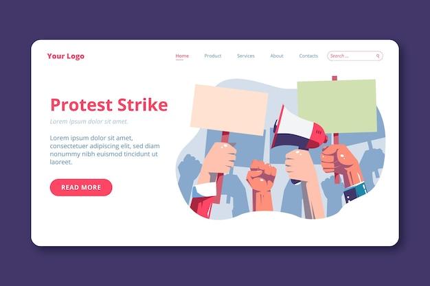 Modelo de página de destino de ataque de protesto