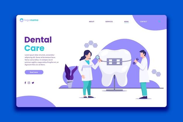Modelo de página de destino de atendimento odontológico de design plano