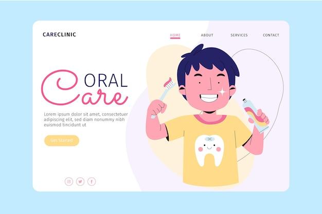 Modelo de página de destino de atendimento odontológico Vetor Premium