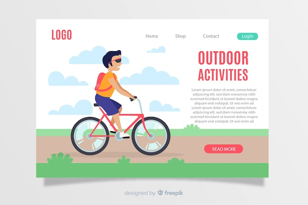 Modelo de página de destino de atividades ao ar livre
