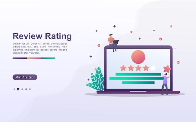 Modelo de página de destino de avaliação de revisão