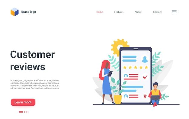 Modelo de página de destino de avaliações de clientes, clientes que deixam estrelas de avaliação, feedback personalizado online