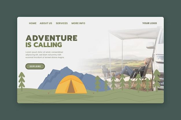 Modelo de página de destino de aventura com foto