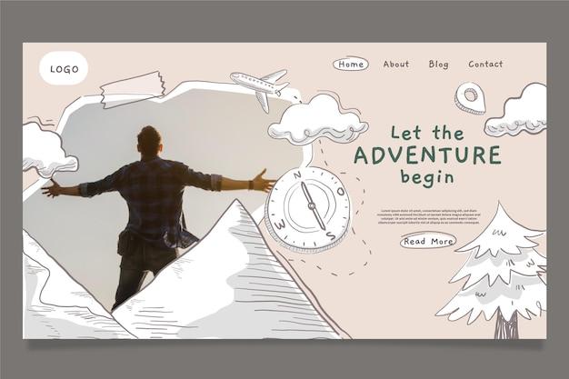 Modelo de página de destino de aventura desenhada à mão com foto