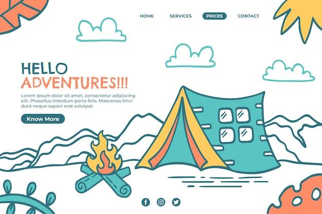 Modelo de página de destino de aventura desenhada à mão