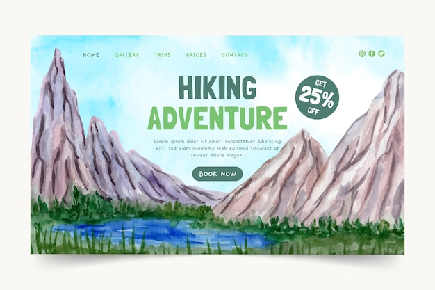 Modelo de página de destino de aventura em aquarela