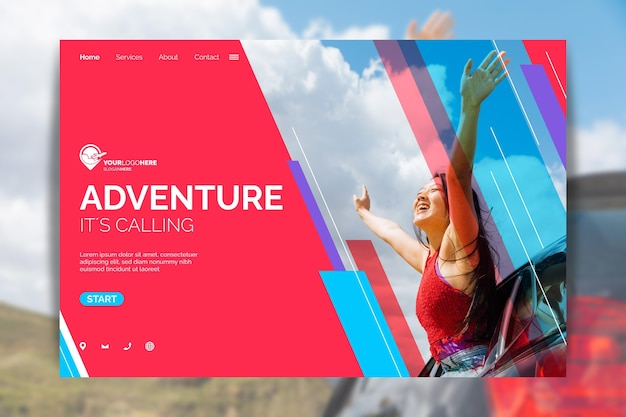 Modelo de página de destino de aventura plana com foto