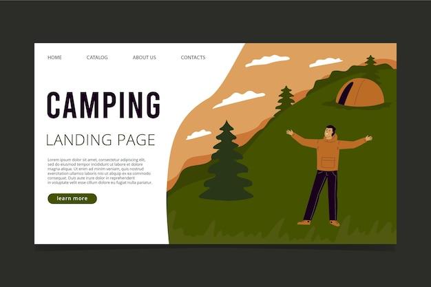 Modelo de página de destino de aventura plana