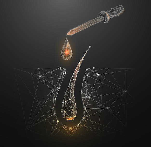 Modelo de página de destino de baixo poli de tratamento de raízes de cabelo