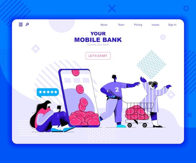 Modelo de página de destino de banco móvel