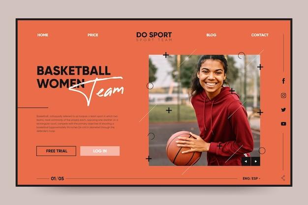 Modelo de página de destino de basquete feminino para esporte de equipe