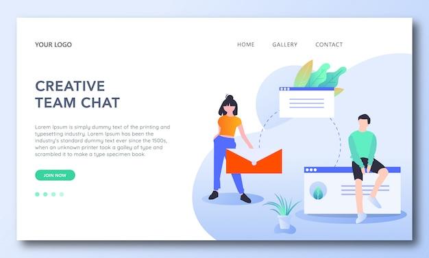 Modelo de página de destino de bate-papo de equipe criativa