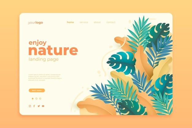 Modelo de página de destino de bela natureza