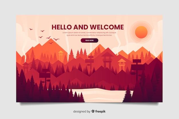 Modelo de página de destino de boas-vindas com paisagem