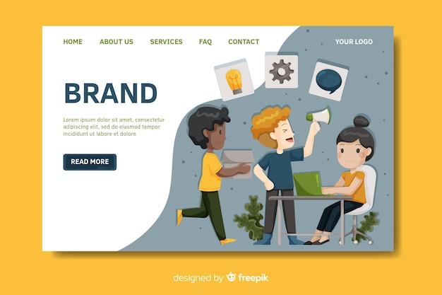 Modelo de página de destino de branding plana